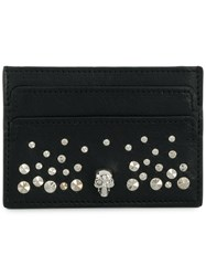 Alexander Mcqueen Studded Skull Wallet Leather Metal Black