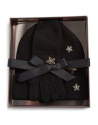 Bcbgmaxazria Three Piece Stars Merino Gloves And Hat Set Ivory