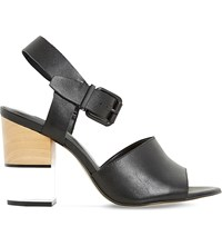 Dune Jenny Leather Perspex Heel Sandal Black Leather