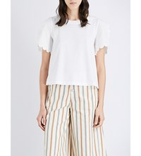 See By Chloe Scalloped Sleeve Cotton Jersey T Shirt Cloud Dancer