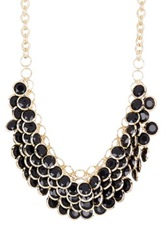 Cara Accessories Disc Cluster Necklace Black