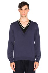 Fred Perry X Raf Simons Double Layer V Neck Sweater Blue