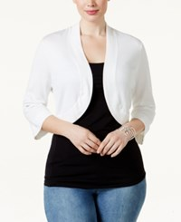 Jessica Howard Plus Size Shrug Cardigan White
