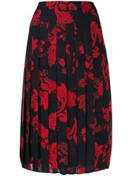 Tory Burch Paisley Pleated Skirt Black