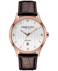 Kenneth Cole New York Men's Diamond Accent Brown Leather Strap Watch 42Mmx50mm 10030783 Rose Gold