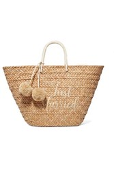 Kayu St Tropez Pompom Embellished Embroidered Woven Straw Tote Sand