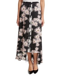 Elizabeth And James Mae Floral High Low Midi Skirt Black Multicolor Black Pattern