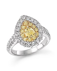 Bloomingdale's Yellow And White Diamond Pear Shape Ring In 18K White And Yellow Gold