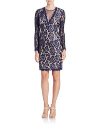 Betsy And Adam Long Sleeve Lace Illusion Dress Navy Nude