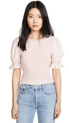 English Factory Smocked Puff Sleeve Top Pink
