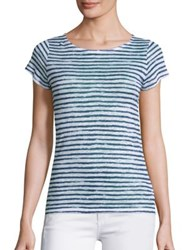 Saks Fifth Avenue X Majestic Filatures Striped Button Back Linen Tee Blanc Indigo