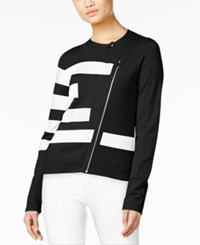 Grace Elements Asymmetrical Zip Sweater Jacket Black White