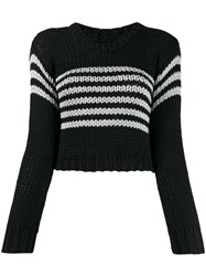 Rta Cropped Striped Sweater Black