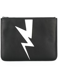 Neil Barrett Lightning Bolt Detail Clutch Black