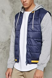 Forever 21 Puffer Vest Hoodie Navy Heather Grey