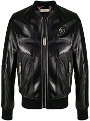 Philipp Plein Leather Bomber Jacket 60