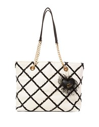 Betsey Johnson Cross Your Heart Ruffled Tote