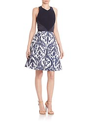 Theia Sleeveless Printed Bottom A Line Dress Navy White Combo