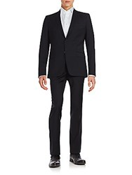 Versace Solid Wool Suit Black