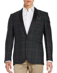 Tallia Orange Plaid Tuxedo Jacket Green