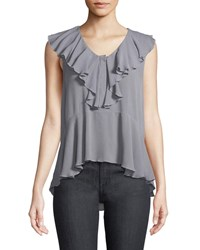 Ella Moss Sleeveless Button Front Ruffle Top Gray