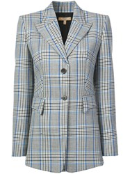Michael Kors Collection Checked Single Breasted Blazer Blue