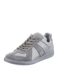 Maison Martin Margiela Replica Leather And Suede Low Top Sneakers Gray Black