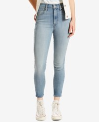 Levi's Mile High Cropped Dark Blue Wash Skinny Jeans Indie Band