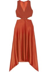 Dion Lee Embellished Cutout Cady And Satin Dress Copper