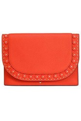 Kate Spade Vita Madison Wagner Way Studded Textured Leather Clutch Tomato Red