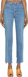 Vetements Blue High Waisted Raw Hem Jeans