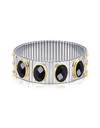 Nomination Four Black Cubic Zirconia Stainless Steel W Golden Studs Women's Bracelet Silver