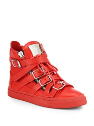 Giuseppe Zanotti Leather Buckle High Top Sneakers Red