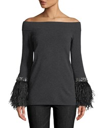Neiman Marcus Cashmere Feather Embellished Off The Shoulder Sweater Charcoal Black