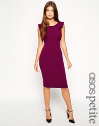 Asos Petite Pencil Dress With Fold Sleeve Detail Berry