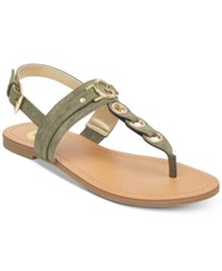 G By Guess Lesha Flat Sandals Women's Shoes Olive Suede