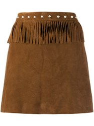 Simonetta Ravizza Fringed Mini Skirt Brown