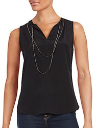 Saks Fifth Avenue Black Sleeveless Silk Top Black