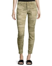 Current Elliott The Station Agent Camo Cropped Skinny Jeans Green Pattern