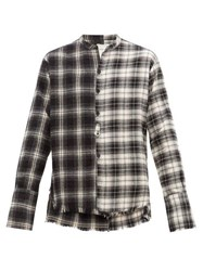 Greg Lauren Studio Two Tone Tartan Cotton Shirt Black White