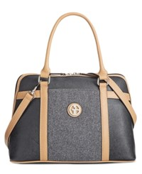 Giani Bernini Saffiano Felt Dome Satchel Only At Macy's Black Grey Felt