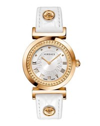 Versace 35Mm Vanity Round Watch W Leather Strap White