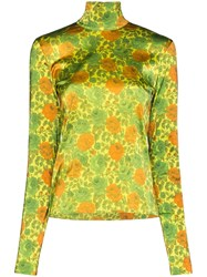 Marques Almeida Marques'almeida Floral Satin Turtleneck Top 60
