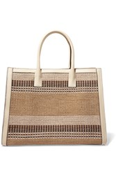 Aerin Beauty Textured Leather Trimmed Striped Straw Tote Beige
