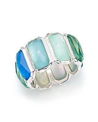 Ippolita Sterling Silver Wonderland Clear Quartz And Mother Of Pearl Doublet Brick Ring Blue Silver