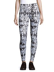 Peony Knitted Printed Leggings Snow White