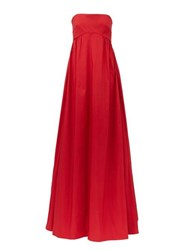 Rochas Strapless Faille Gown Red