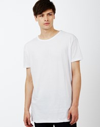 The Idle Man Long Line Short Sleeve T Shirt White