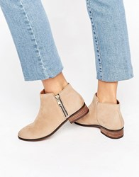 Aldo Julianne Taupe Zip Flat Leather Ankle Boots Taupe Leather Beige