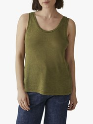 Toast Scoop Neck Linen Vest Top Olive